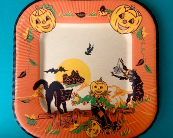 """Vintage Halloween Paper Plate 8.5"""" Square Party Plate with Jack O Lanterns Black Cat Bats and Scarecrow"""