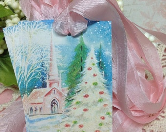 Set of 6 Vintage  Pink Christmas Church Gift Tags