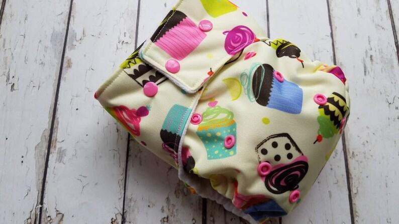 Pocket Cloth Diaper Cupcakes One Size Newborn Small Medium image 0