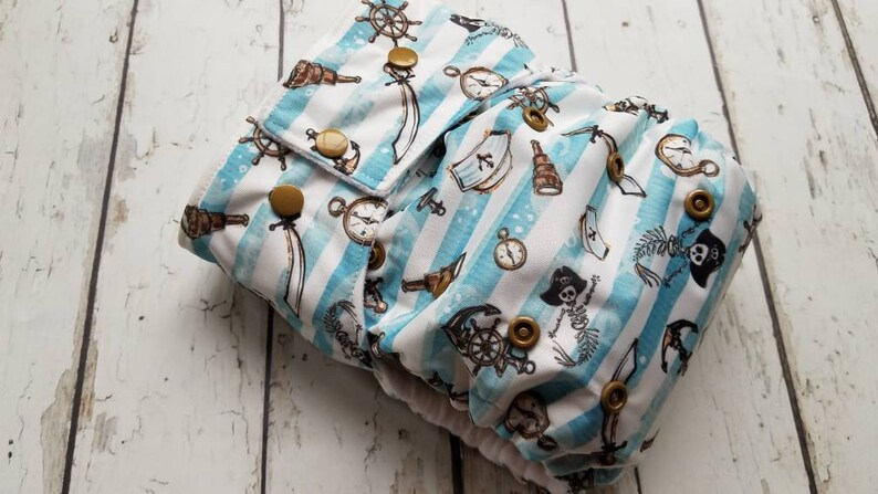 One Size Pocket Cloth Diaper Seafarer Stripe 10-40 lbs image 0