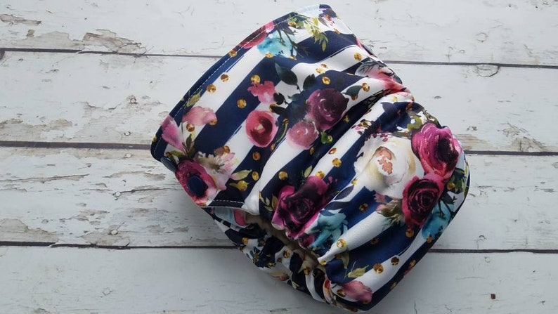 Organic Side Snap All in One Cloth Diaper Merlot Rose Stripe image 0