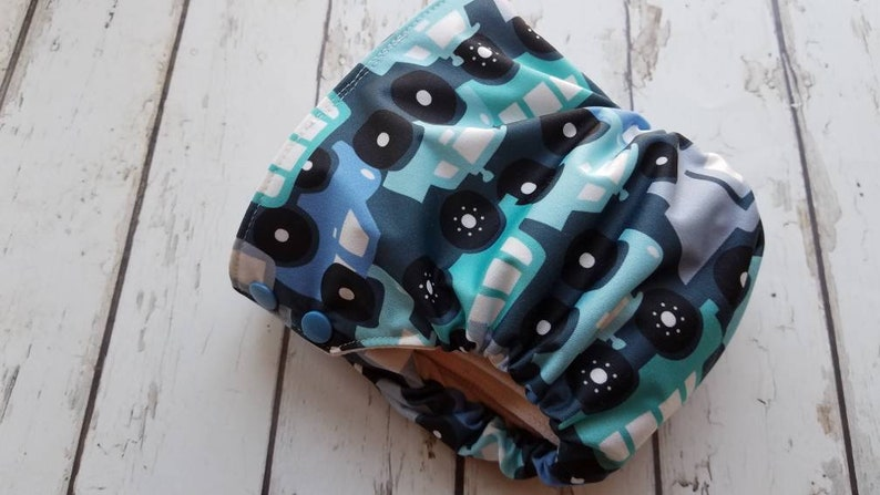 Organic Side Snap All in One Cloth Diaper Traffic Jam AIO PUL image 0