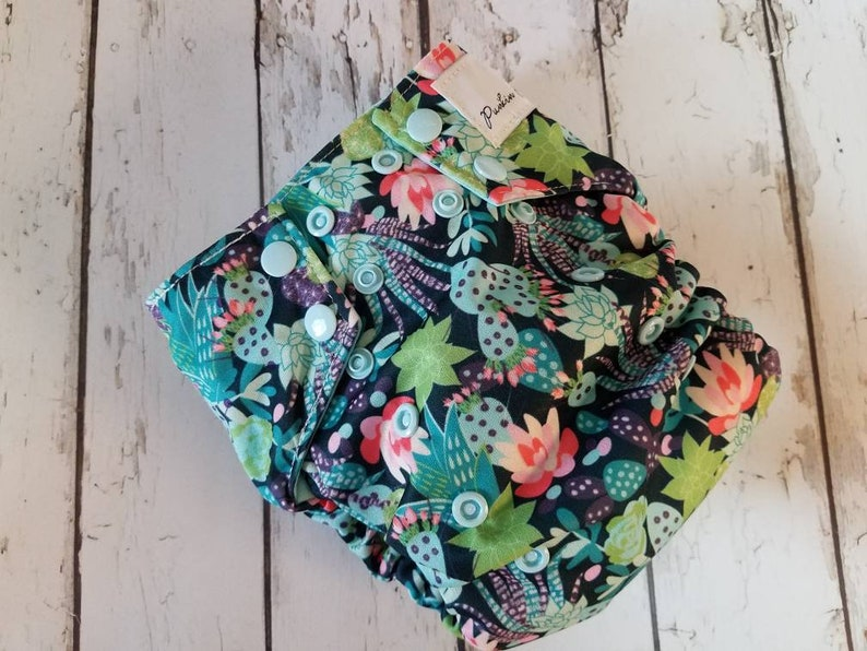 Organic One Size All in One Cloth Diaper Cactus Flower 8-40 image 0