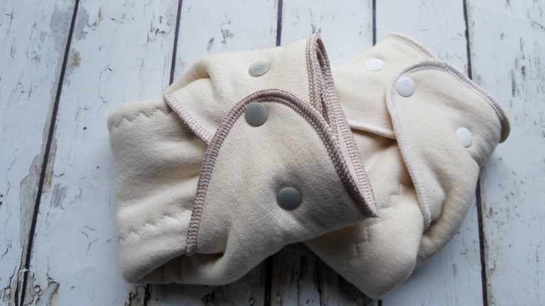 Small Organic Cotton Winged Prefold Cloth Diaper Plain Jane 2 image 0