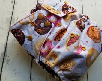 One Size Cloth Diaper Cover with Tuck Flaps Pink Donuts 9-45 lbs