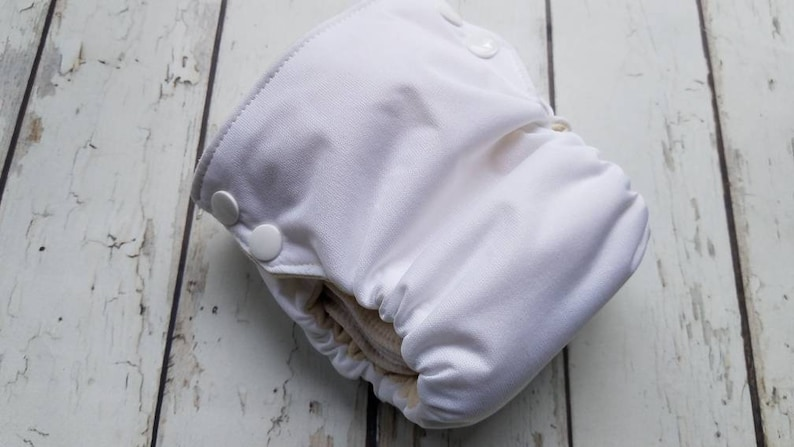 Side Snap Organic Cotton All in One Cloth Diaper White AIO PUL image 0