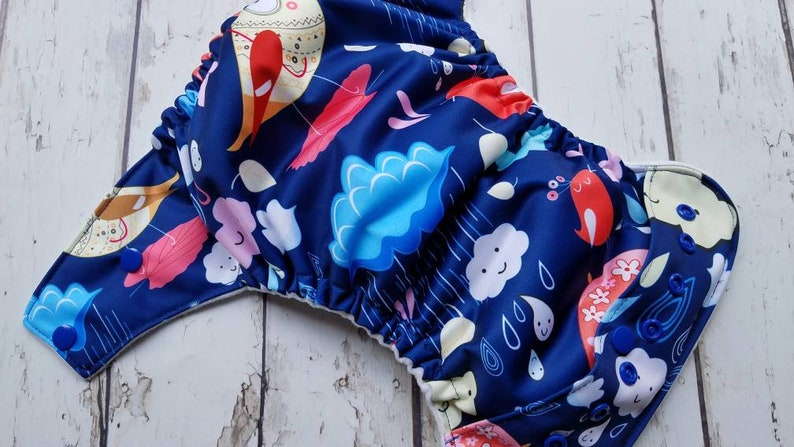 Pocket Cloth Diaper Rainy Day Birds One Size Newborn Small image 0