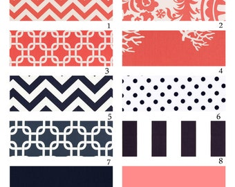 Custom Crib Bedding-3 piece-Navy and Coral