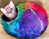 Custom Rainbow Felt CatCave Bed with Animal Rescue Donation