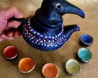 Indigo Raven Teapot with Six Tiny Cups