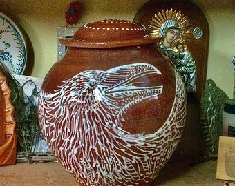 White Raven Custom Mica Cremation Urn in 6 Sizes with FAIR Shipping