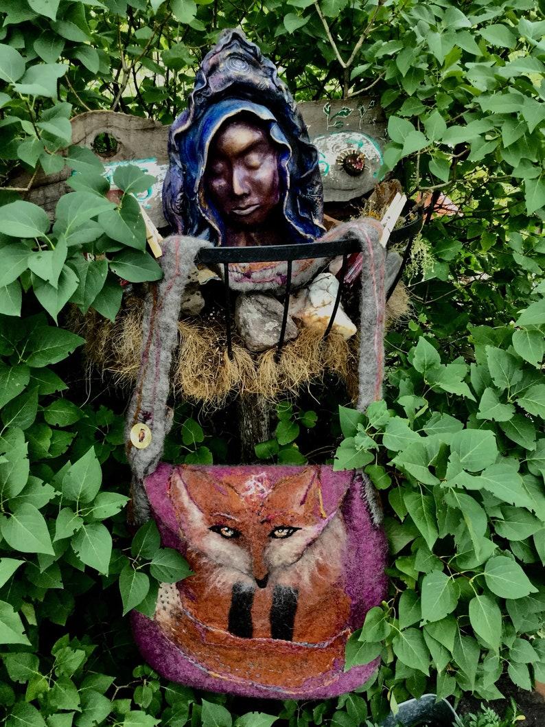 Taos Magic Fox Felt Messenger Bag with Adjustable Strap