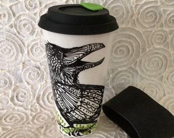 Raven Ceramic Travel Mug with Leaf Closure Lid and Cozy