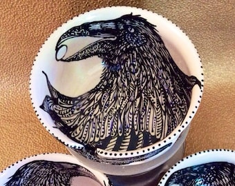 In Stock Jumbo Raven Yarn Bowl with 3 Holes, Spiral Yarn Channel & Ravens Inside and Outside
