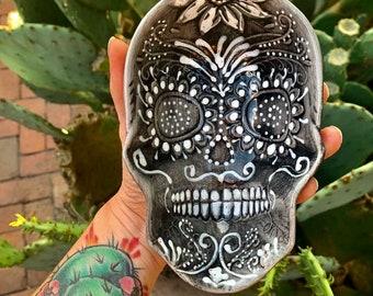 Sugar Skull Butter Dish Bowl Spoon Rest Hand Painted Glazed Ceramic