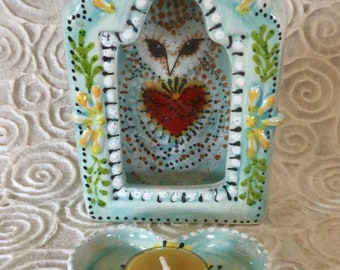 Barn Owl Sacred Heart Shrine with Tealight Heart for Wall Shelf and Altar