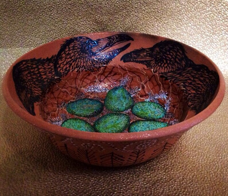 Custom Raven Nest Blessing Bowl of Mica Clay from New Mexico