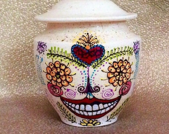Sugar Skull Cremation Urn Custom Sizes with FAIR Shipping