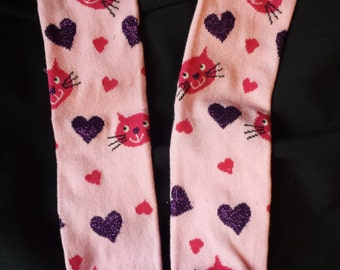 Pink Kitty with Hearts Baby Leg/Leg Warmers