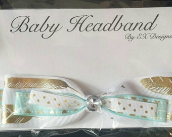 Elastic Teal and White Infant Headband with Bow