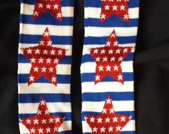 Leg warmer/Baby Legs for Babies and Children - America Red, White and Blue With Red Stars