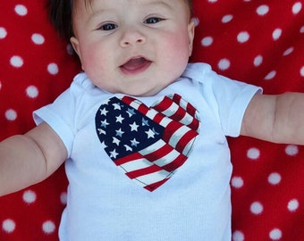 America Love Onesie Perfect for 4th of July 6-9 month size
