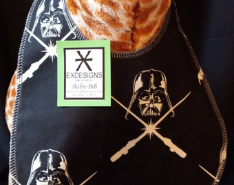 Reversible Star Wars Glow in the Dark Darth Vader Print Baby Bib - Toddler size *Wider Size*