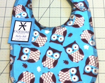 Teal Owl Print Baby Bib - Toddler Size *ON SALE*