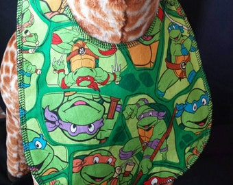 Ninja Turtles Print Baby Bib - Toddler size *Wider Size*