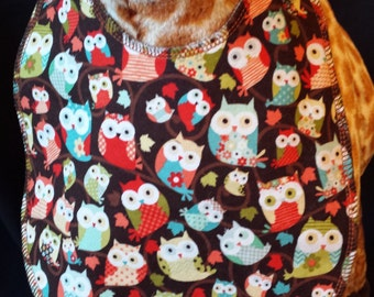 Cute Baby Owl Print Baby Bib- Toddler size *Wider Size*