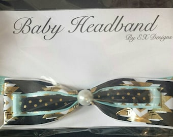 Elastic Teal and Black Infant Headband with Bow