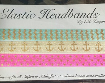 Set of 3 Printed Elastic Headband for Infants to Adults