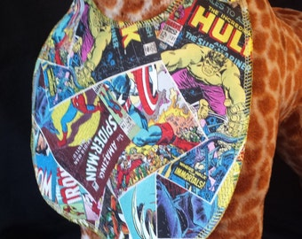 Comic Book Character Print Bib - Toddler size *Wider Size*