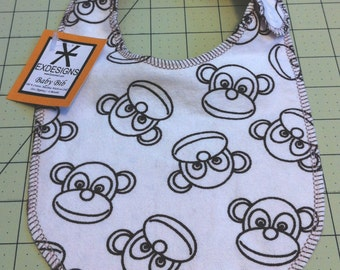 Cute Monkey Print Baby Bib - Infant *ON SALE*