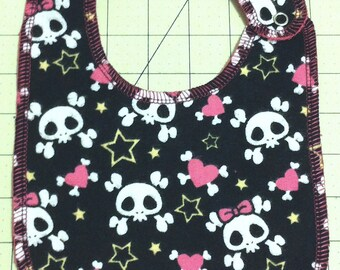 Cute Punk Skulls Print Baby Bib - Toddler *ON SALE*