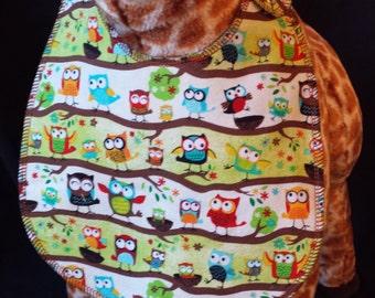 Baby Owl Print Baby Bib- Toddler size *Wider Size*
