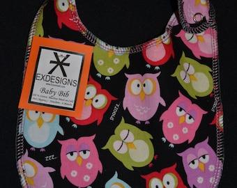 Pink Owl Print Baby Bib - Infant