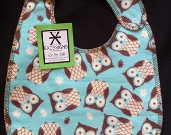 Teal Owl Print Baby Bib - Toddler size *Wider Size*