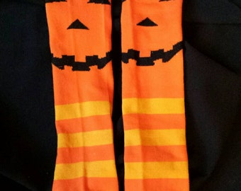 Halloween Themed Orange Jack o Lantern Pumpkin  Baby Legs/Leg Warmers