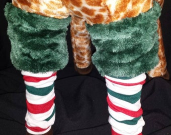 Christmas Red, Green, and White Stripe Fur Top Holiday Baby Legs