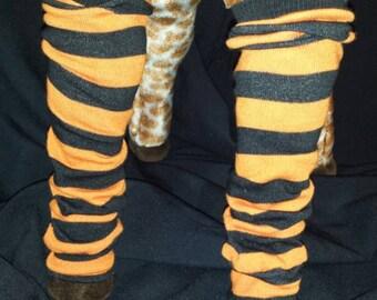 Halloween Black and Orange Pumpkin Striped Baby Leg/Leg Warmers