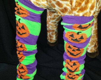 Halloween Themed Purple and Green Jack o Lantern Pumpkin  Baby Legs/Leg Warmers