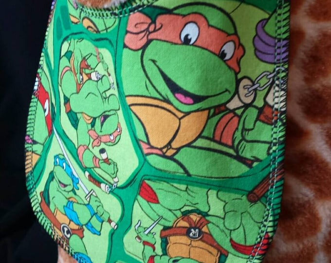 Featured listing image: Ninja Turtle Print Baby Bib- Infant size
