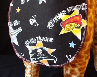 Reversible Pirate/Skull Baby Bib - Toddler size *Wider Size*