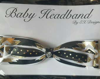 Elastic Black and White Infant Headband with Bow