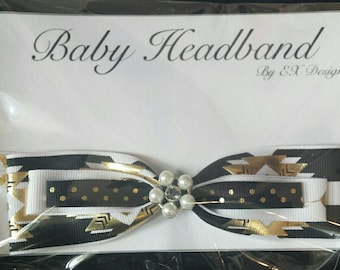 Elastic Black and White with Pearl Center Infant Headband with Bow