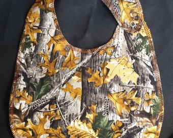 Hunter Camo Print Baby Bib 100% cotton- Toddler size *Wider Size*