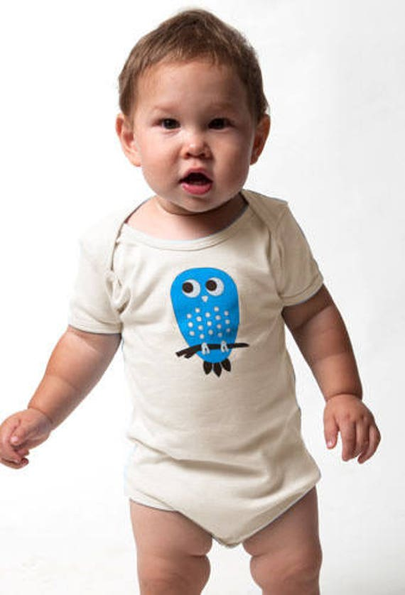 Organic Blue Owl Baby Onesie