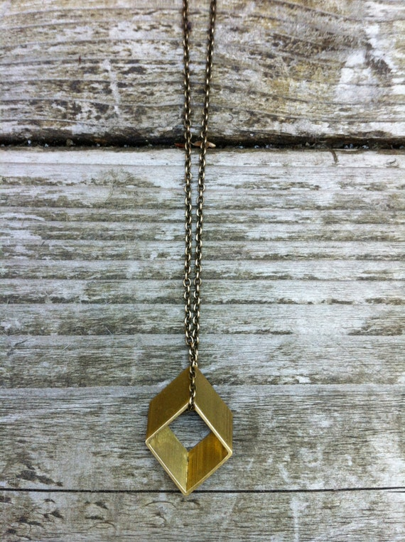 Brass Rhombus Necklace