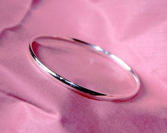 Oval Section Sterling Silver Bangle